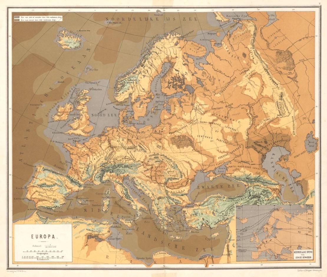 kleurenkaart van Europa