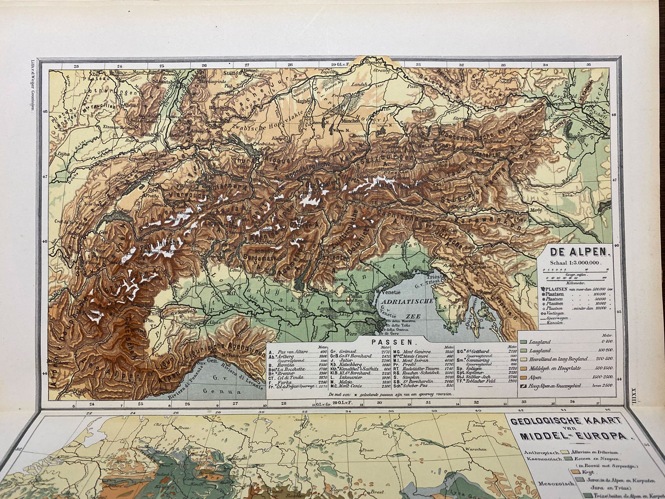 colored map of The Alps