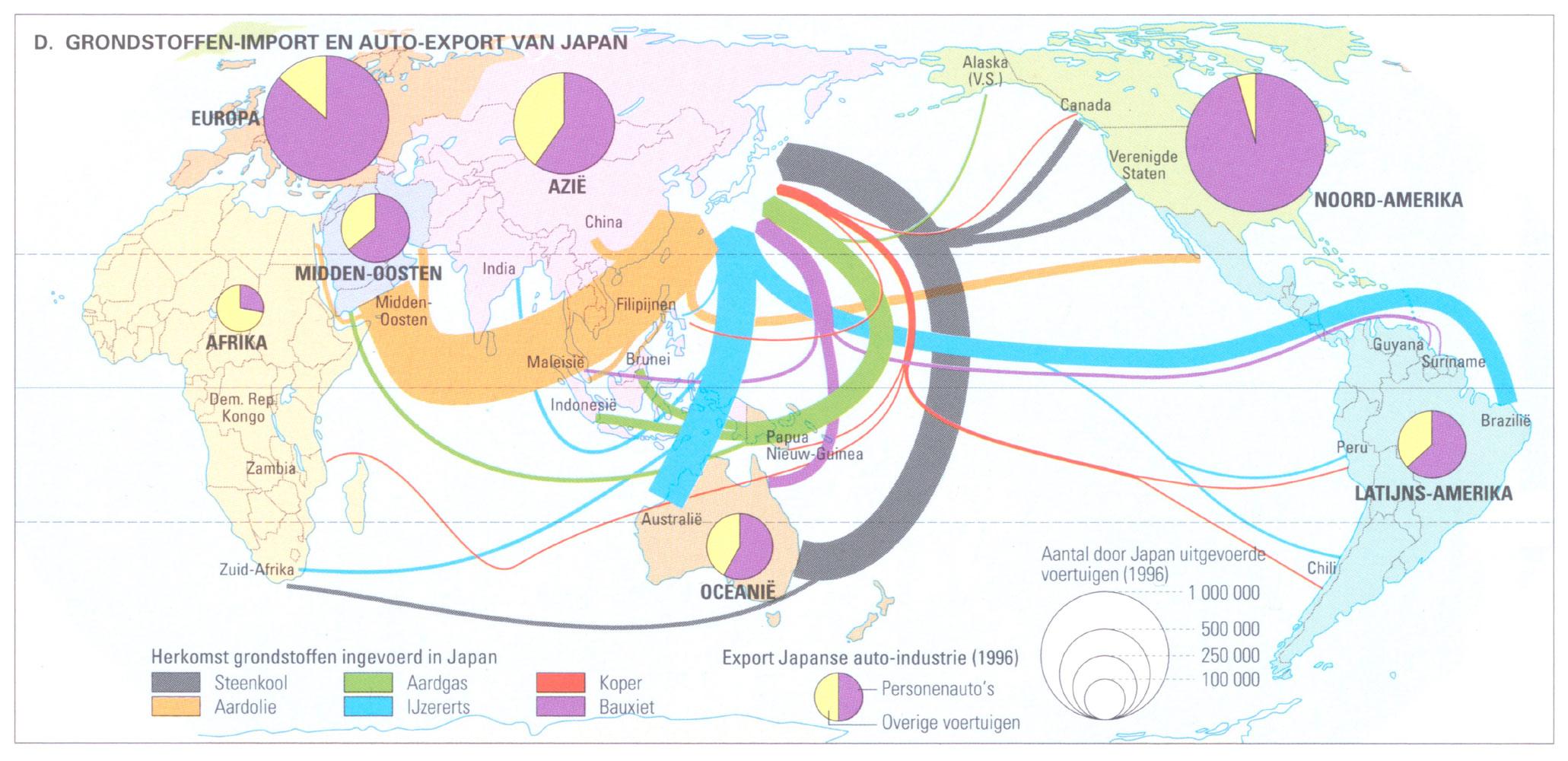 thematische kaart van de Japanse auto-industrie