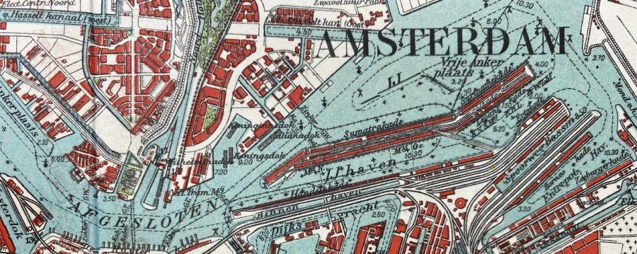 kaart bovenaanzicht detail stationsgebied Amsterdam